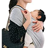 コニー ぐっすり 抱っこひも シンプル ビップシート ベビーキャリア スリング シンプル 軽い 軽量 コンパクト お出かけ 楽な 簡単 安全 抱っこ紐 (グレー) (S)
