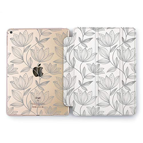 Wonder Wild Gray Lotus Apple iPad Pro Case 9.7 11 inch Mini 1 2 3 4 Air 2 10.5 12.9 2018 2017 Design 5th 6th Gen Clear Smart Hard Cover Flowers Watercolor Pattern Leaves Girly Stylish Decoration Art