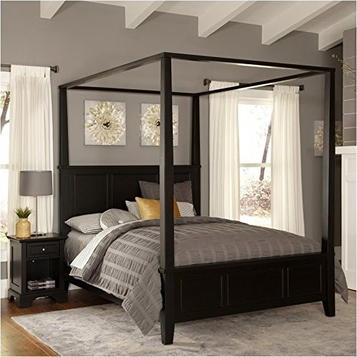 BOWERY HILL King Canopy Bed and Nightstand in ()