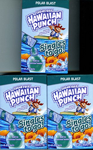 Hawaiian Punch POLAR BLAST Singles to Go (3 Boxes) 8 Drink Packets in Each Box
