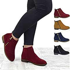 Women's Casual Faux Suede Heeled Ankle Boots