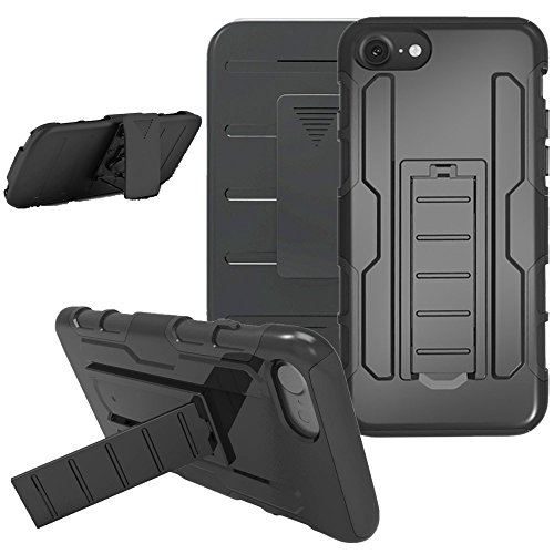 iPhone 7 Case, iPhone 7 Belt Clip Combo Case, Asstar Hybrid Dual Layer Armor Defender Full-body Protective Case Cover with Kickstand for iPhone 7 (4.7 inches) (Black) - Black Ballistic 50 Pants