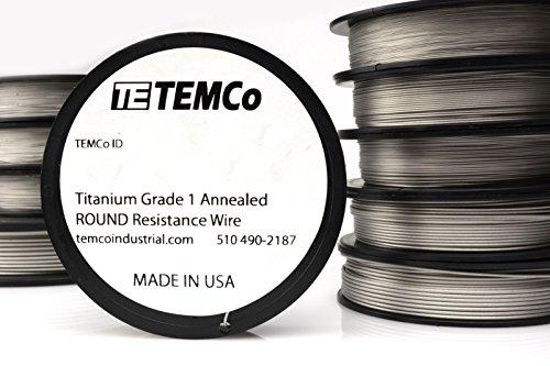 TEMCo Titanium Wire 26 Gauge Surgical Grade 1 Resistance AWG ga