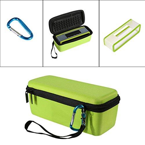 Poschell Hard shockproof Spielraumbeutel mit Weicher Abdeckung Bluetooth Lautsprecher Schutzbeutelbeutel für Bose SoundLink Mini I und Mini II EVA Farbenreißverschlusstasche mit Silikonhülse