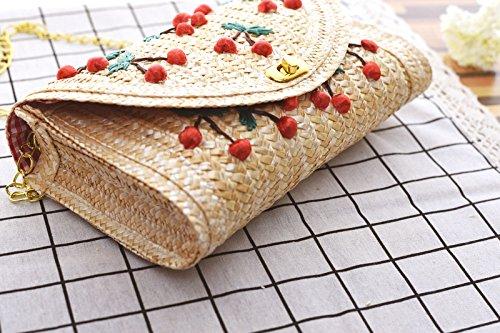 Crossbody Straw Cherry Womens Beige Bag Handbags Summer Shoulder Bag Weave Purse and Beach awwdrS1WqU