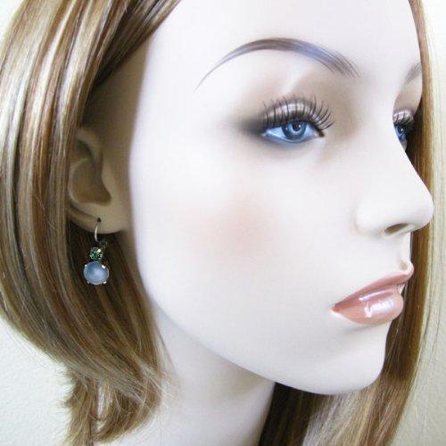 Mariana Silvertone Double Drop Round Swarovski Crystal Earrings, Green Sky 1062 707