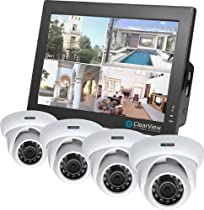 Touch Screen 4 Channel Combo DVR with built in 10 LCD Monitor with 4 Dome