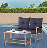 Solaura Patio Outdoor Furniture 2 Piece Loveseat Light Brown Coated Metal Frame Nautical Navy Blue Cushions & Glass Coffee Table Bench Sofa