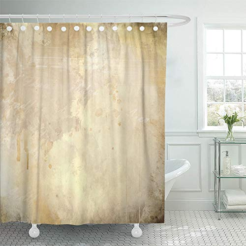 Ancient Page Dye - Emvency Shower Curtain Set Waterproof Adjustable Polyester Fabric Brown Canvas Abstract Grunge Paint Wall Old Color Vintage Page Ancient 66 x 72 Inches Set with Hooks for Bathroom