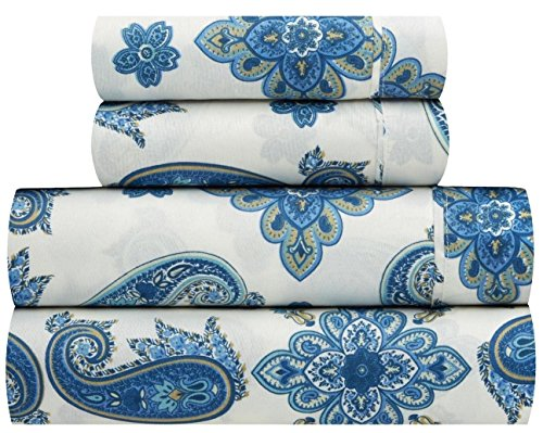 Waverly Traditions Talcott Twirl Aegean Blue Floral 4-Pc. Bed Sheet Set (King)