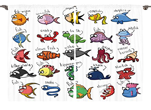 Ambesonne Girls Boys Nursery Nautical Baby Decor Collection, Cartoon Octopus Dolphin Shark Whale Shrimp Clown Fish Print, Window Treatments for Kids Bedroom Curtain 2 Panels Set, 108X63 Inches Red - Clown Fish Wall