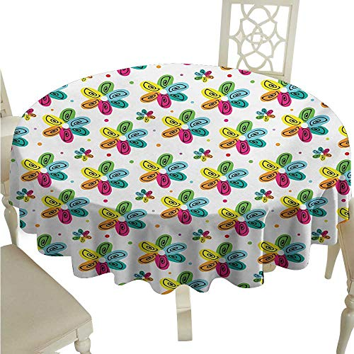 (White Round Tablecloth Colorful,Vibrant Colored Flower Petals with Swirling Doodle Motifs Cheerful Summer Pattern,Multicolor Diameter D70,for Accent Table )