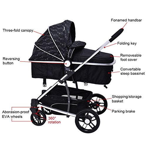 MD Group Baby Stroller 2-In-1 Foldable Aluminum Alloy Black Oxford Switchable Kids Travel by MD Group (Image #7)