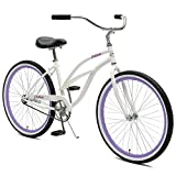 Retrospec Chatham Women's Beach Cruiser, 26'/1-speed, White and Orchid