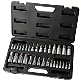 """Hi-Spec 32 Piece S2 Steel Hex Bit Socket Set with SAE and Metric 1/4"""", 3/8"""" & 1/2'' Drive Bit Sockets Chrome Finish for Automotive, Mechanical and Engineering Tasks – All in Sturdy Storage Case"""