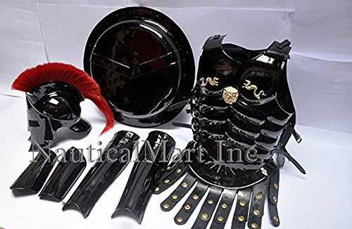 Medieval 16 Gauge 300 Spartan Helmet with Red Plume+ Muscle Armor+Shield + Leg or Arm Guard