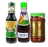 Thai Seasoning Trio - Golden Mountain Seasoning Sauce, Sambal Oelek Chili Sauce, Squid Fish Sauce Bundle