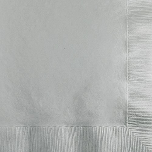 Creative Converting Paper Napkins, 3-Ply Beverage Size, Shimmering Silver Color, (Paper Cocktail Napkin Package)