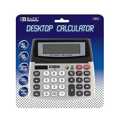 Image of BAZIC 12-Digit Dual Power Desktop Calculator w/Adjustable Display (Box of 12) Basic
