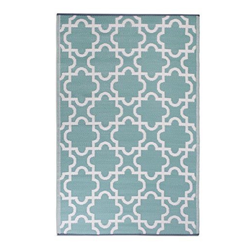 DII Moroccan Indoor/Outdoor Lightweight, Reversible, & Fade Resistant Area Rug, Use For Patio, Deck, Garage, Picnic, Beach, Camping, BBQ, Or Everyday Use - 4 x 6', Green Lattice (Mud Room Rugs)