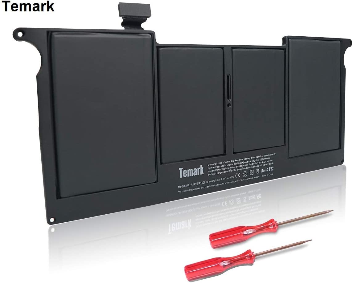 Temark New Replacement A1495 A1406 Laptop Battery Compatible With MacBook Air 11'' A1465 A1370 (Mid 2011 2012 2013 Early 2014 2015 Version) fits MC968 MD223 MC506LL MD711 MC965LL 020-7376-A 020-7377-A