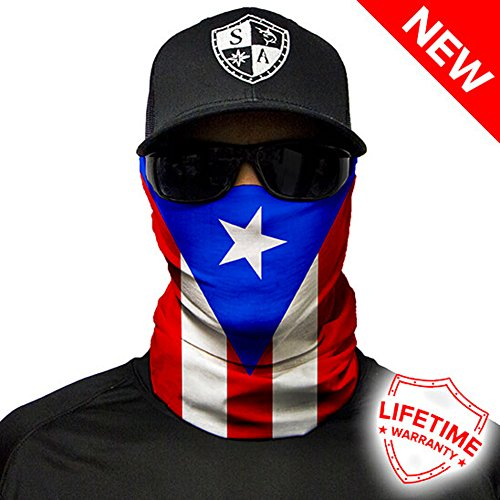 SA Company Face Shield Micro Fiber Protective Like armour for your face from wind, dirt and bugs. Keep warm on cool days. Worn as a Balaclava, Neck Gaiter, Head band, Doo Rag for Hunting, Fishing Running, Boating Cycling Racing and Salt lovers. - Puerto Rico