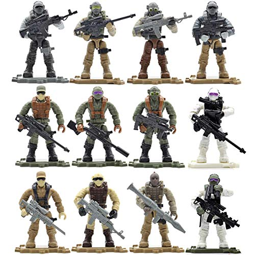 Liberty Imports Special Forces Military Soldiers Mega Troop Building Set - Army Men Micro Figures Action Figurines with Weapons in Surprise Eggs (12 Pack)