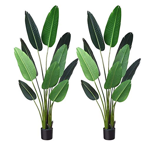 Bird Of Paradise Tropical Plant - Fopamtri Artificial Tropical Palm Tree Fake Plant for Indoor Outdoor, Perfect Faux Plants for Home Garden Office Store Decoration, 5 Feet-2 Pack