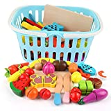 Wooden Cutting Cooking Food Playset,Kitchen Play Food Toys for Pretend Play Role-Play, Early Development Learning Toys with Carry Basket,Gift for Toddlers Boys and Girls