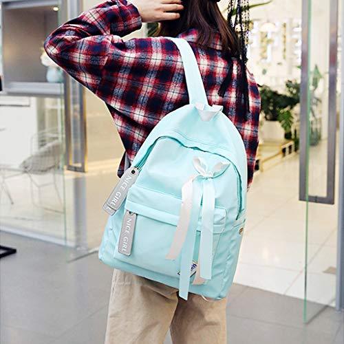 Lazo Nylon Escolar Impermeable Viaje Mochila Xuniu Rosa Blue Mochila con de de FnSaq6zwW