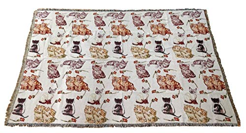 160 Cm Cream - Cats And Roses Orange Cream Red Black Tapestry 160cm x 220cm Throw