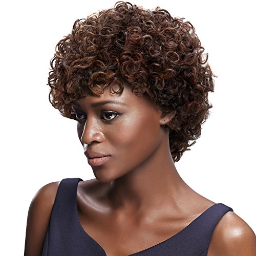 Afro 6 Short Curly Wigs with 100% Brazilian Hair (3-Color Mixed: DARK BLONDE & MEDIUM AUBURN & DARK BROWN) - Afro Wigs for Black Women - Human Hair Wigs - Afro Wig Beauty Personal Care