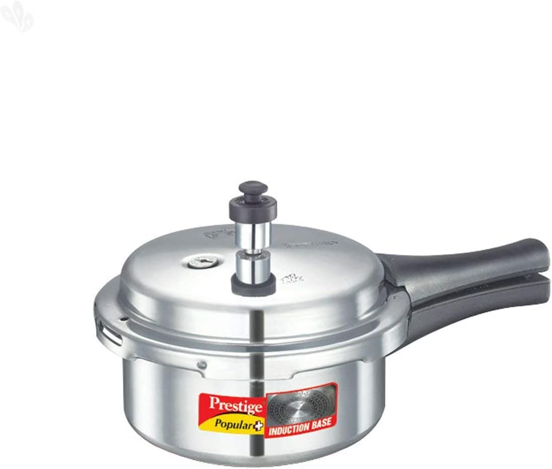Prestige Popular Plus Induction Base Aluminum Pressure Cooker, 2-Liter, Silver