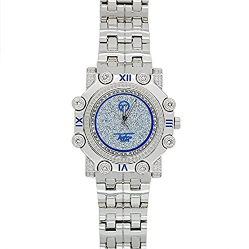 Illusion Iced - Techno Pave Mens Kings Crown Blue Illusion Silver PlatedMetal Band Watch