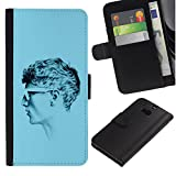 UPPERHAND ( Not For HTC ONE Mini 2) Stylish Image Picture Black Leather Bags Cover Flip Wallet Credit Card Slots TPU Holder Case For HTC One M8 - profile portrait man blue short hair art
