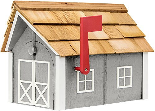 Painted Amish Mailbox with Cedar Roof and Windows & Door Trim (Cape Cod Gray with White Trim)