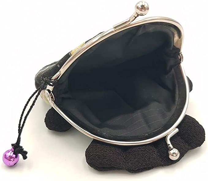 Hand crafted gold embossed Japanese flowers coin purse with bronze kiss lock frame and faux pearl beads collectable #0175