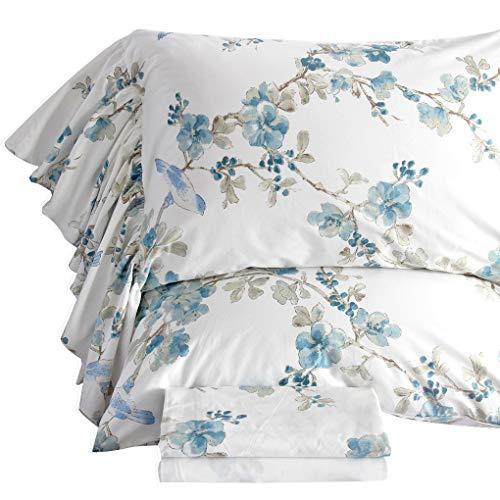 - Queen's House Ruffles Bird Printed Bed Sheets Sets Egyptian Cotton Deep Pocket Queen Sheets -D