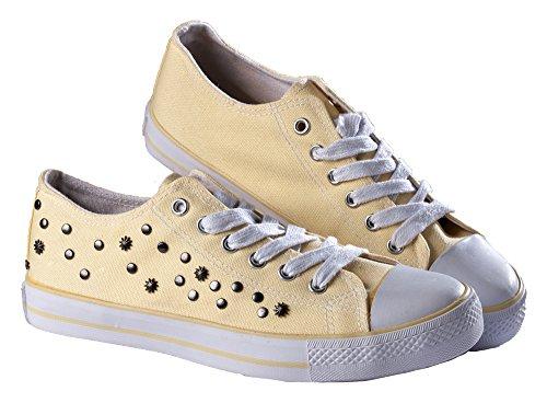 Markenlos Sneakers Turnschuhe Halbschuhe Damen Canvas Nieten grau gelb Gelb