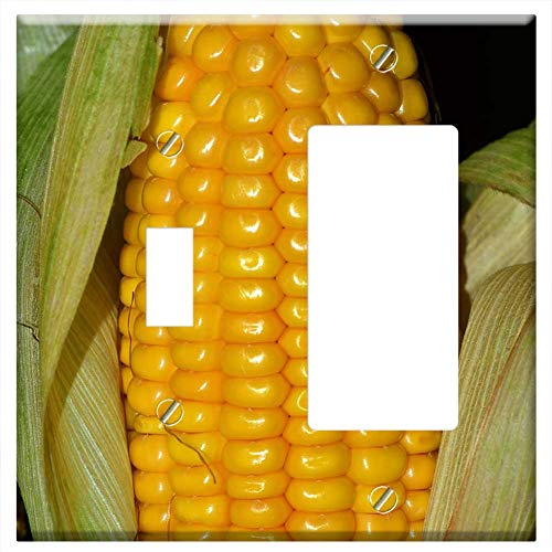 (1-Toggle 1-Rocker/GFCI Combination Wall Plate Cover - Corn Corn On The Cob Food Vegetables Cereals)
