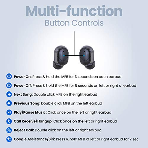 pTron Bassbuds Plus True Wireless Bluetooth 5.0 Headphones with Deep Bass, Made in India, IPX4 Water/Sweat Resistant, Passive Noise Canceling Earbuds, Digital Display Case & Built-in HD Mic - (Black)