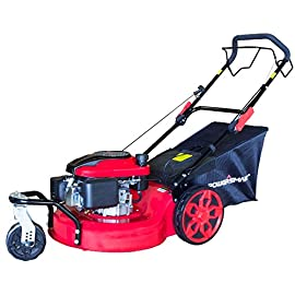 PowerSmart DB8620 20 inch 3-in-1 196cc Gas Self Propelled Mower, Red/Black 39 Recoil start 196cc 4 stroke, OHV, single cylinder with forced air cooling system 8 cutting position, cutting wide: 20 inch Rear-wheel drive; self propelled