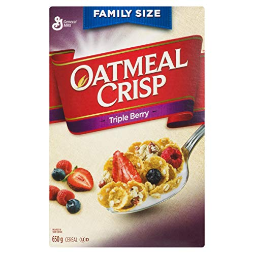 General Mills Family Size Oatmeal Crisp Triple Berry Cereal, 650g/22.9oz, (Imported from Canada)