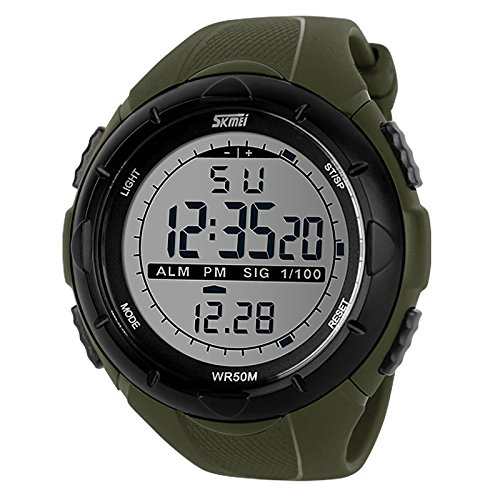 HKB Men's fashion creative outdoor sports personality big dial watch-Army Green