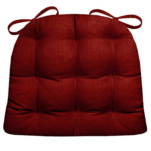 Barnett Products Indoor/Outdoor Chair Pad - Rave Scarlet Red Solid Color Woven Fabric - Mildew Resistant, Fade Resistant - Reversible, Latex Foam Fill - Small Patio Chair Cushion