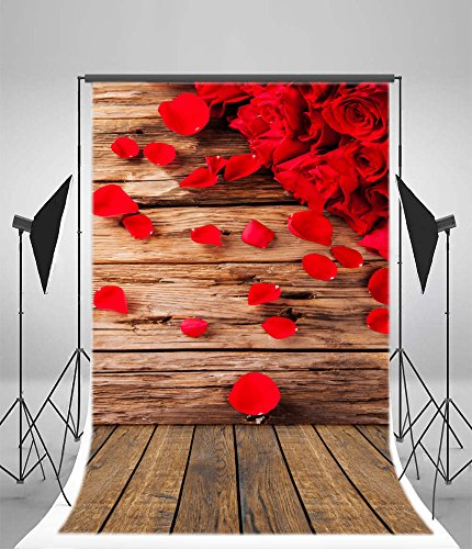 12' Dinner Candles - OFILA Rose Flowers Backdrop 3x5ft Petals Wood Floordrop Valentine's Day Background Lover Date Candlelight Dinner Decoration Anniversary Wedding Bride Photos Newborn Baby Theme Kids Toddlers Props