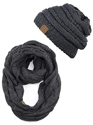 C.C Unisex Soft Stretch Chunky Cable Knit Beanie and Infinity Loop Scarf Set, Dark Melange Gray