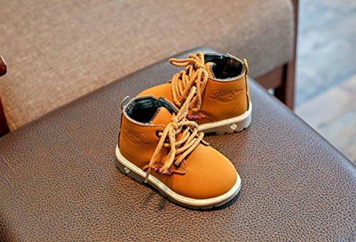 Transer® Baby Mädchen Jungen Martin Stiefel Schnüren Sneaker Kleinkind Neugeborenes Kinder Casual Herbst Winter Schuhe Lauflernschuhe Gelb