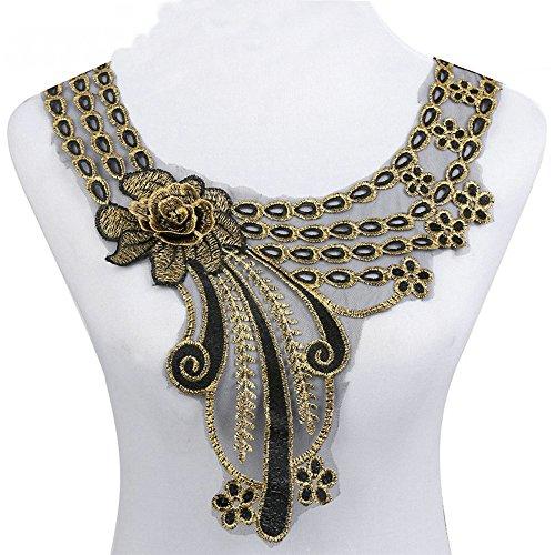 (1pcs Craft Gold Collar Venise 3D Rose Floral Lace Applique Trim Decorated Lace Neckline Collar Sewing Dress Decor)
