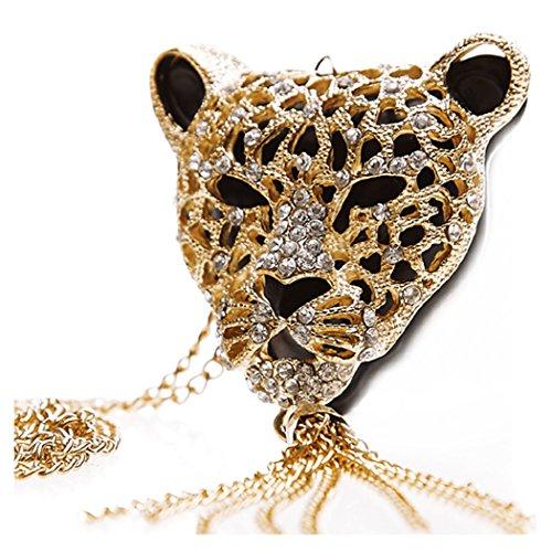 TOPSTARONLINE Golden Rhinestone Leopard Head Tassel Sweater Chain necklace